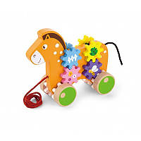 Дерев'яна каталка Коник із шестерінками Viga Toys 50976