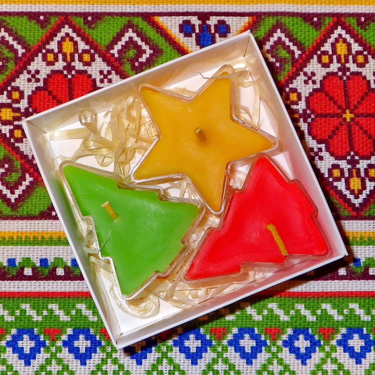 Новогодний набор восковых чайных свечей Рождественское Настроение (3шт.)