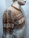 Зимний мужской теплый шерстяной свитер с орнаментом Rewac Турецкий Горчичный, фото 3
