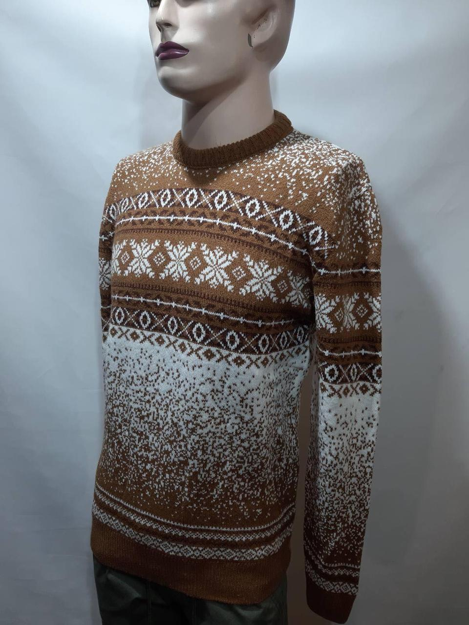 Зимний мужской теплый шерстяной свитер с орнаментом Rewac Турецкий Горчичный