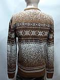 Зимний мужской теплый шерстяной свитер с орнаментом Rewac Турецкий Горчичный, фото 4
