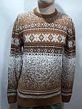 Зимний мужской теплый шерстяной свитер с орнаментом Rewac Турецкий Горчичный, фото 7