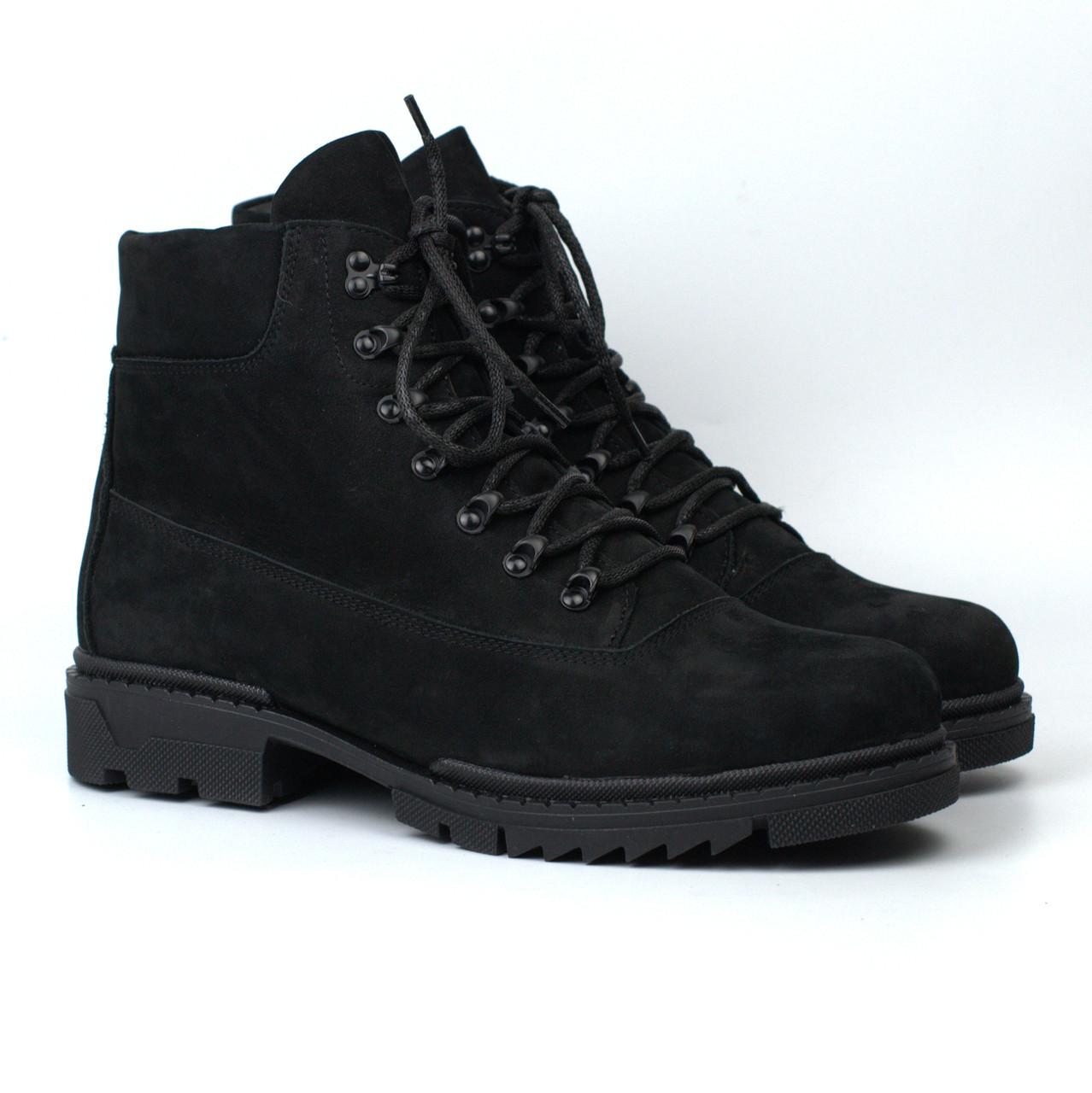 Мягкие ботинки мужские зимние нубук обувь на меху берцы Rosso Avangard Taiga Ultimate Black Nub