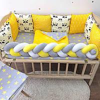 Комплект бортиков с Пандами в детскую кроватку, бортики-подушечки, защита в кроватку