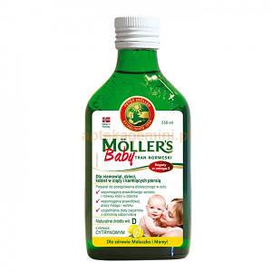 Рыбий жир с лимонным вкусом для детей и кормящих мам Moller's, 250мл