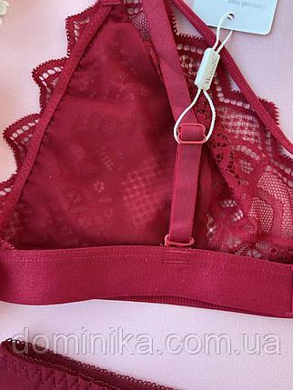 80В Красный кружевной сексуальный комплект дамского нижнего белья, полупрозрачные трусики с ажуром, фото 2