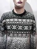 Зимний мужской теплый шерстяной свитер с орнаментом Rewac Турецкий Зеленый, фото 2