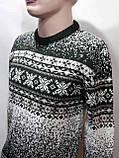 Зимний мужской теплый шерстяной свитер с орнаментом Rewac Турецкий Зеленый, фото 7