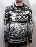 Зимний мужской теплый шерстяной свитер с орнаментом Rewac Турецкий Зеленый, фото 3