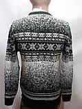 Зимний мужской теплый шерстяной свитер с орнаментом Rewac Турецкий Зеленый, фото 4
