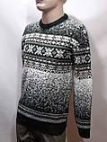 Зимний мужской теплый шерстяной свитер с орнаментом Rewac Турецкий Зеленый, фото 8