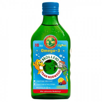 Рыбий жир для детей и взрослых с фруктовым вкусом Moller's, 250мл, фото 2