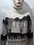 Зимний турецкий мужской шерстяной свитер под горло с новогодним орнаментом Молочный, фото 4