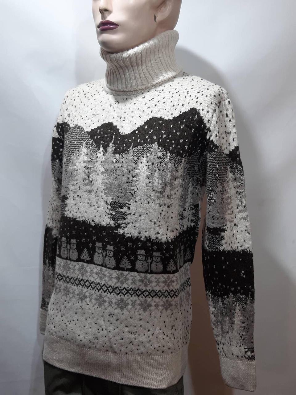 Зимний турецкий мужской шерстяной свитер под горло с новогодним орнаментом Молочный