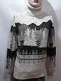 Зимний турецкий мужской шерстяной свитер под горло с новогодним орнаментом Молочный, фото 5