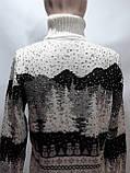Зимний турецкий мужской шерстяной свитер под горло с новогодним орнаментом Молочный, фото 9