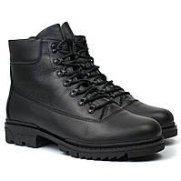 Черевики чоловічі зимові шкіряні на хутрі взуття великих розмірів Rosso Avangard Taiga Ultimate Black Leather BS