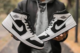 Кроссовки мужские Nike Air Jordan 1 Retro White Black suede