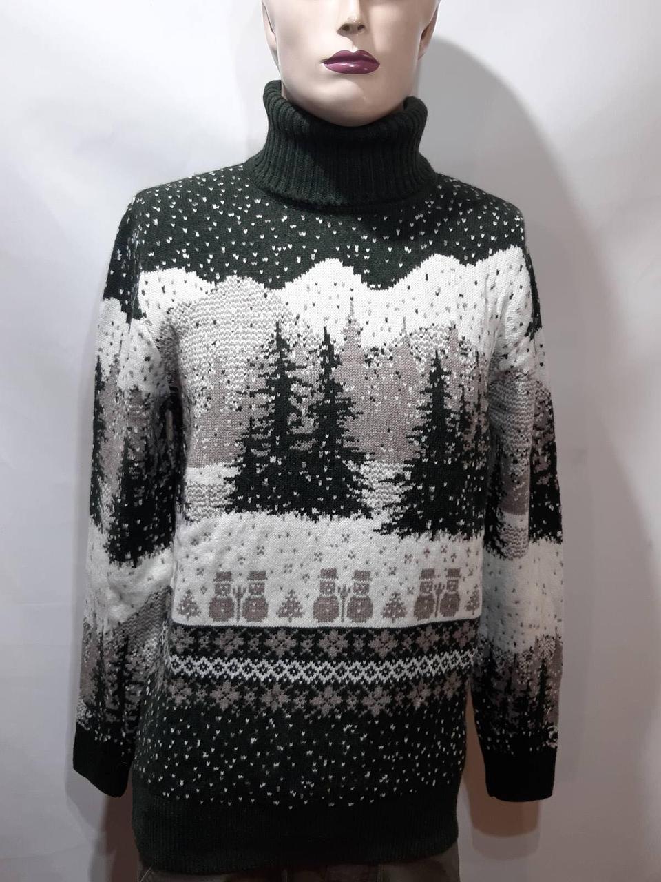Турецкий мужской зимний шерстяной свитер под горло с новогодним орнаментом Зеленый