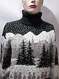 Турецкий мужской зимний шерстяной свитер под горло с новогодним орнаментом Зеленый, фото 7