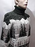 Турецкий мужской зимний шерстяной свитер под горло с новогодним орнаментом Зеленый, фото 3