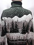 Турецкий мужской зимний шерстяной свитер под горло с новогодним орнаментом Зеленый, фото 6