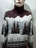 Мужской теплый шерстяной свитер под горло с новогодним орнаментом Турция Бордовый, фото 6