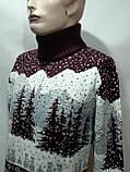 Мужской теплый шерстяной свитер под горло с новогодним орнаментом Турция Бордовый, фото 5