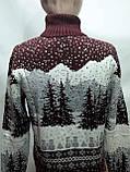 Мужской теплый шерстяной свитер под горло с новогодним орнаментом Турция Бордовый, фото 2