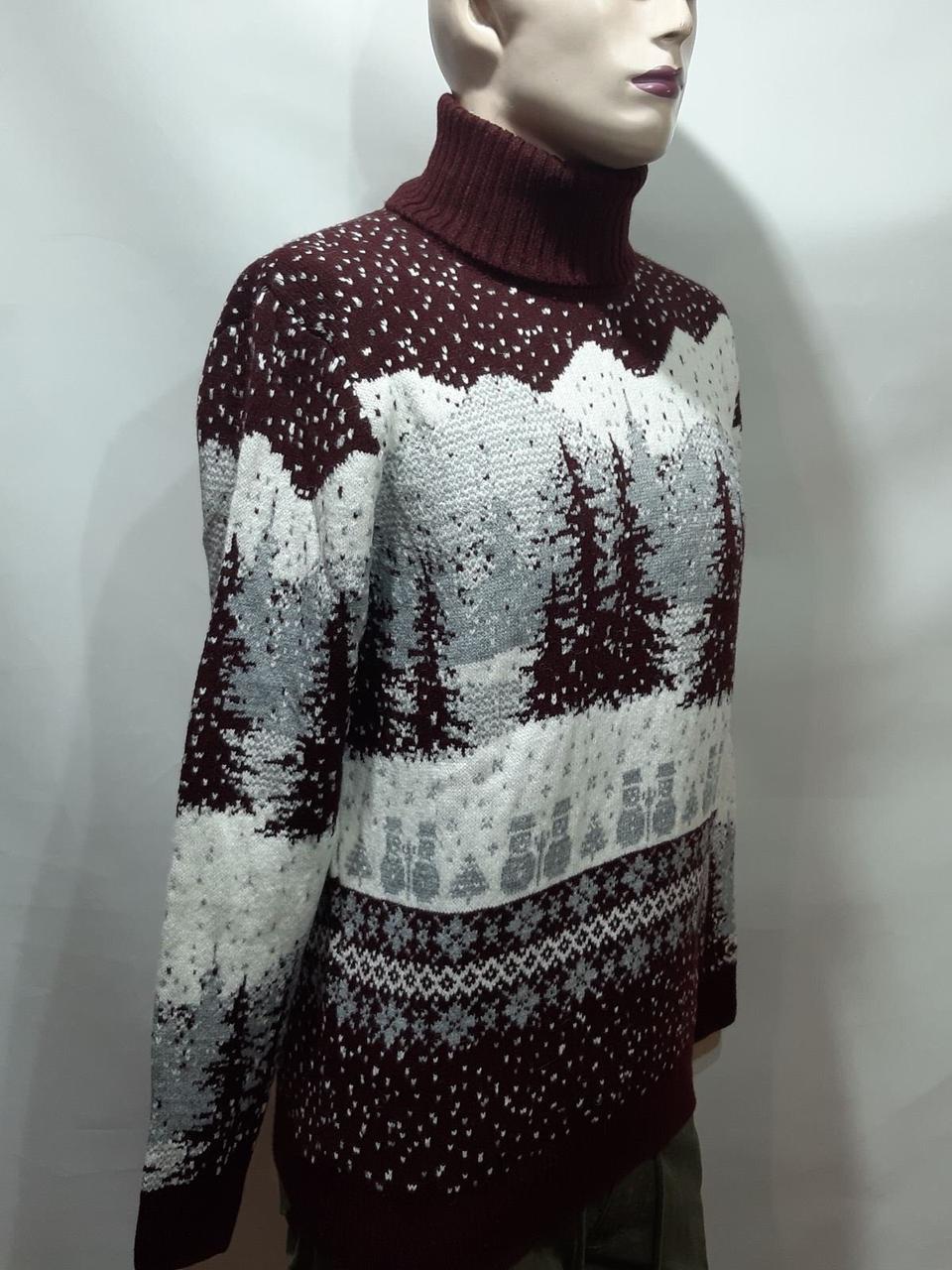 Мужской теплый шерстяной свитер под горло с новогодним орнаментом Турция Бордовый