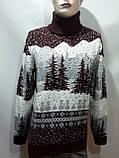 Мужской теплый шерстяной свитер под горло с новогодним орнаментом Турция Бордовый, фото 8