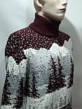 Мужской теплый шерстяной свитер под горло с новогодним орнаментом Турция Бордовый, фото 4