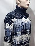 Мужской теплый шерстяной свитер под горло с новогодним орнаментом Турция Темно-синий, фото 4