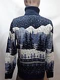 Мужской теплый шерстяной свитер под горло с новогодним орнаментом Турция Темно-синий, фото 8