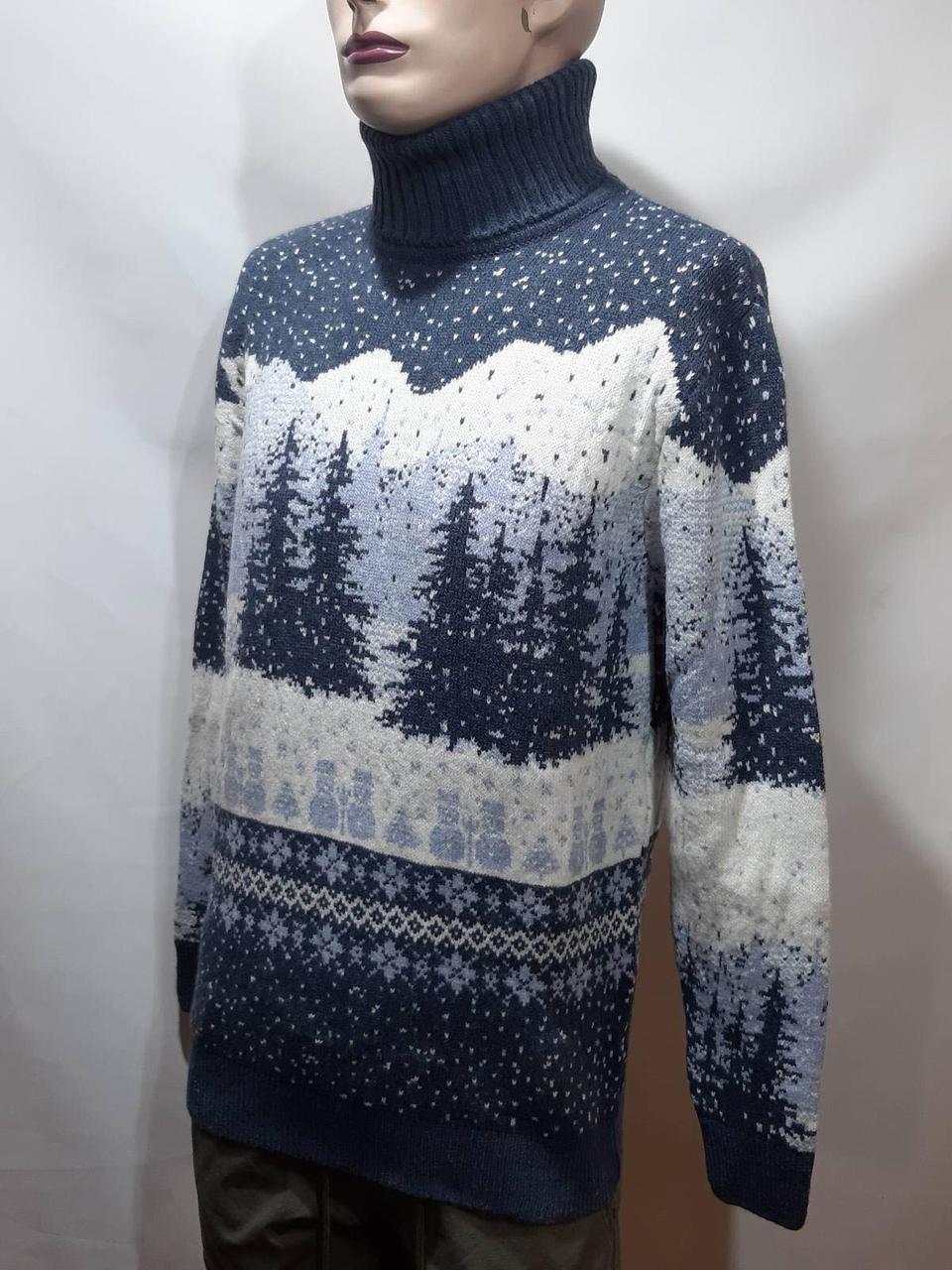 Мужской теплый шерстяной свитер под горло с новогодним орнаментом Турция Темно-синий