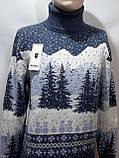 Мужской теплый шерстяной свитер под горло с новогодним орнаментом Турция Темно-синий, фото 2