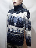 Мужской теплый шерстяной свитер под горло с новогодним орнаментом Турция Темно-синий, фото 7