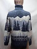 Мужской теплый шерстяной свитер под горло с новогодним орнаментом Турция Темно-синий, фото 9