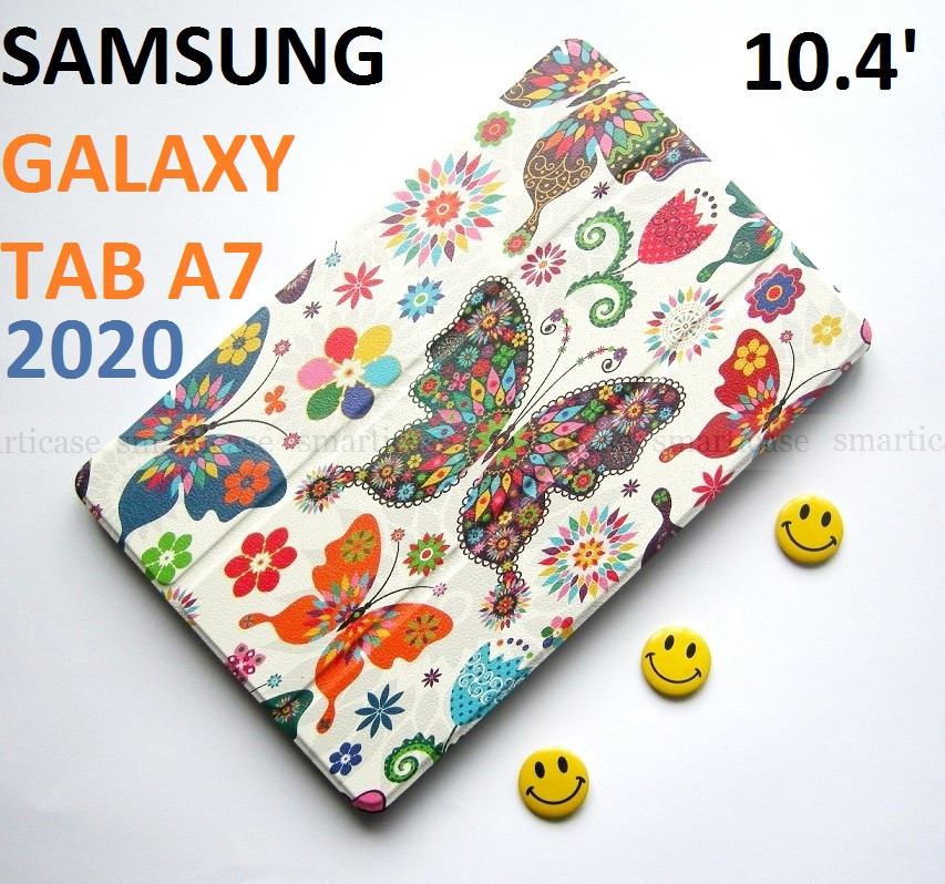 Женский чехол с бабочками Samsung Galaxy Tab A7 10.4 2020 Silver (Sm T500 T505) Ivanaks Tri Fold Butterflies