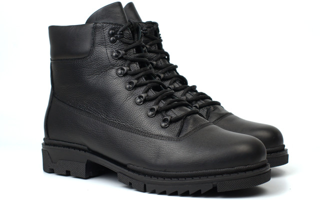 Ботинки мужские зимние кожаные берцы обувь на меху Rosso Avangard Taiga Ultimate Black Leather Monza