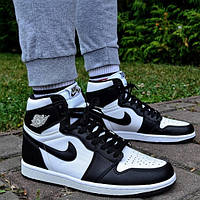 Кроссовки мужские Nike Air Jordan 1 Retro High OG Black White (555088-010) Leather черные