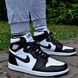 Кроссовки мужские Nike Air Jordan 1 Retro High OG Black White (555088-010) Leather черные