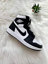 Кроссовки женские Nike Air Jordan 1 Retro High OG Black White (555088-010) Leather черные