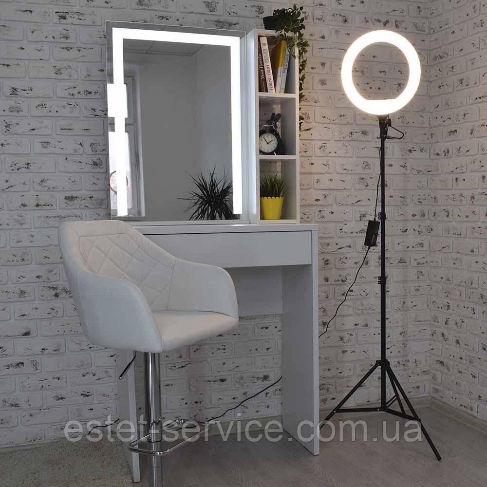 Туалетный столик для макияжа с LED подсветкой и полочками