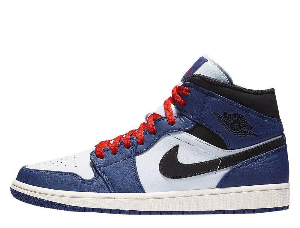 Кроссовки мужские Nike Air Jordan 1 Mid SE Deep Royal Blue White (852542-400) Leather синие