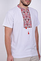 Стильная мужская футболка вышиванка с красным орнаментом