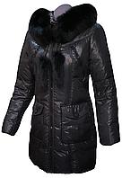 Пуховик зимний женский пальто на натуральном пуху с натуральным мехом лисы MIRAGE