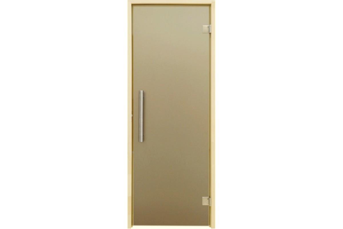 Универсальная стеклянная дверь липа Tesli Steel Sateen 1900х700мм бронзовая матовая для бани и сауны