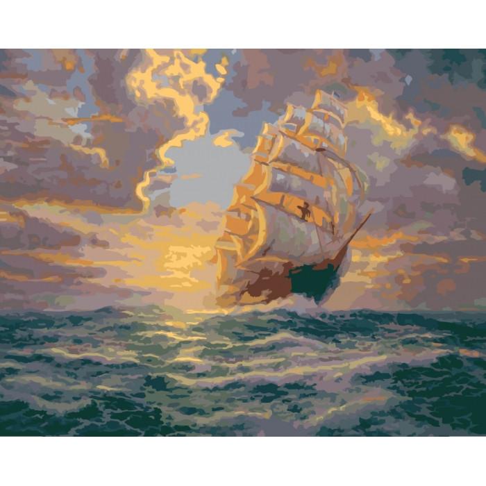 Картина по номерам Рассвет под парусами  ТМ Идейка 40 х 50 см КНО2715