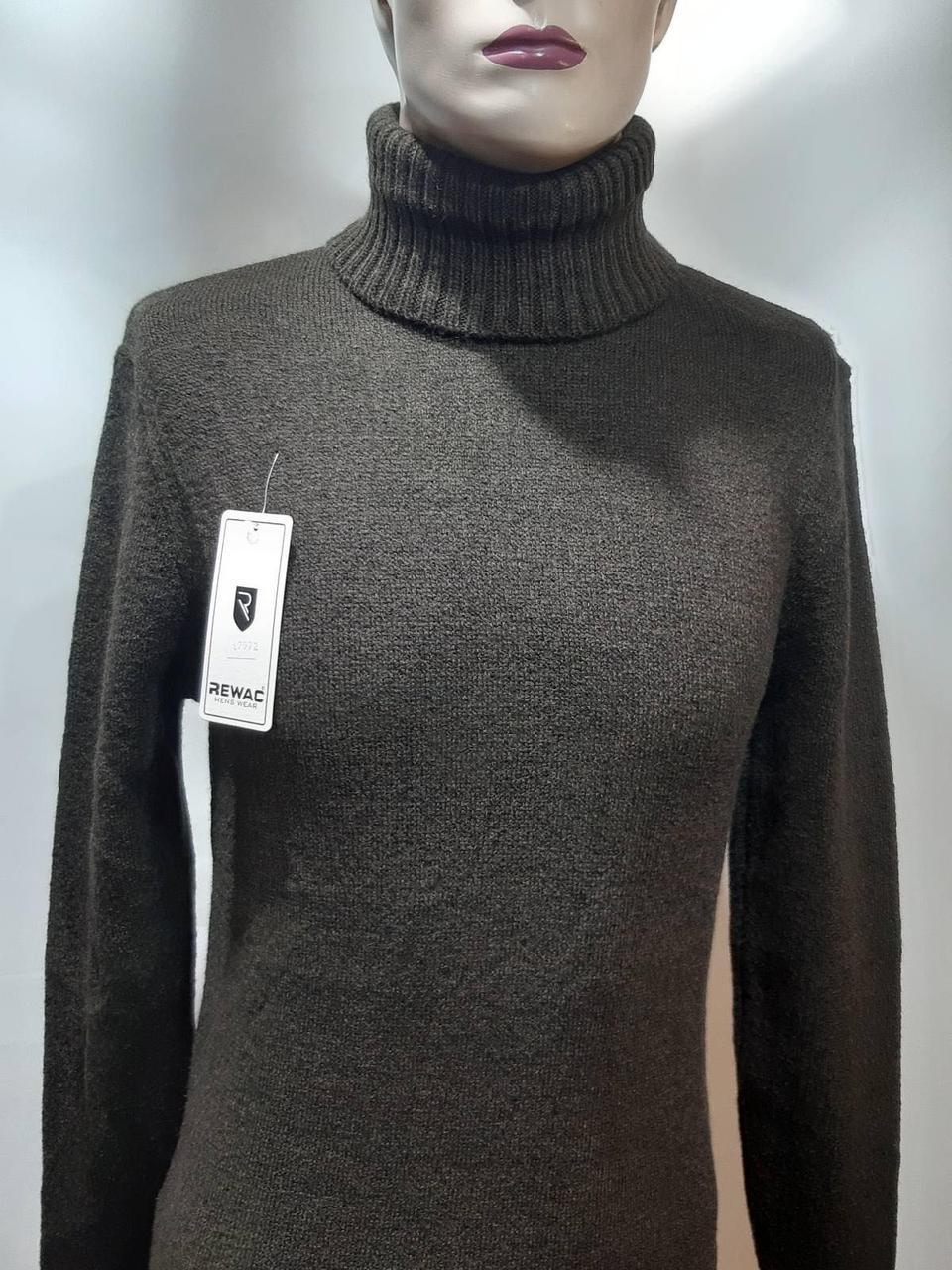 Чоловічий теплий светр вовняний гольф Rewac зимовий під горло Коричневий